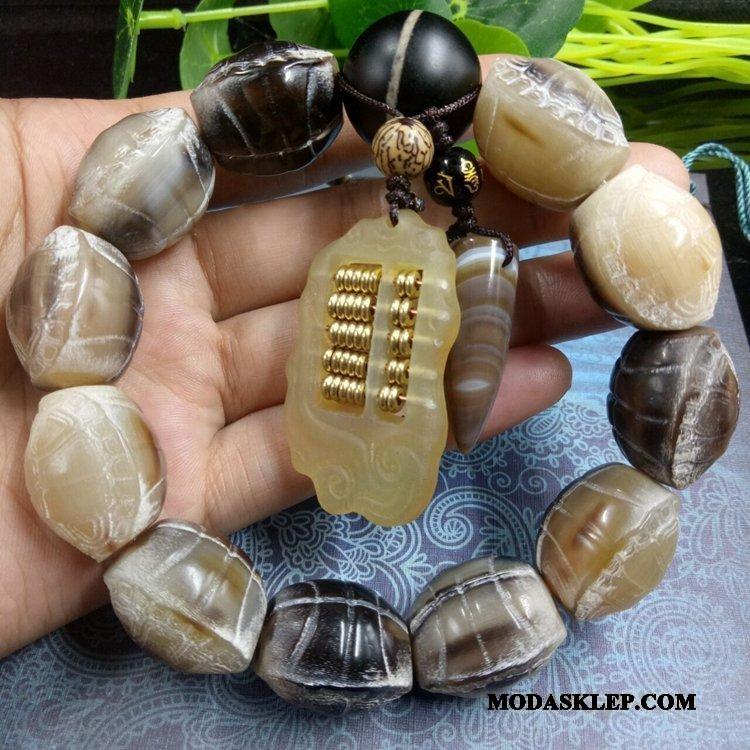 Męskie Koraliki Bransoletki Tanie Rzeźba Etniczny Wisiorek Męska Ręcznie Robione Biały Brązowy