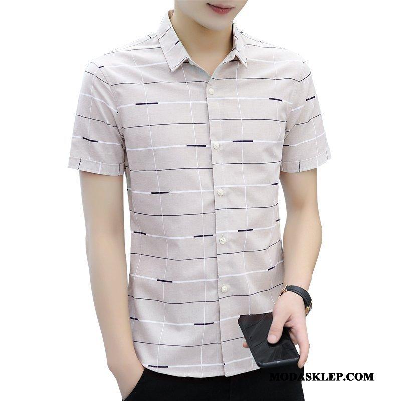 Męskie Koszula Dyskont Krótki Rękaw Męska Lato Koszula Z Krótkim Rękawem Casual Beżowy