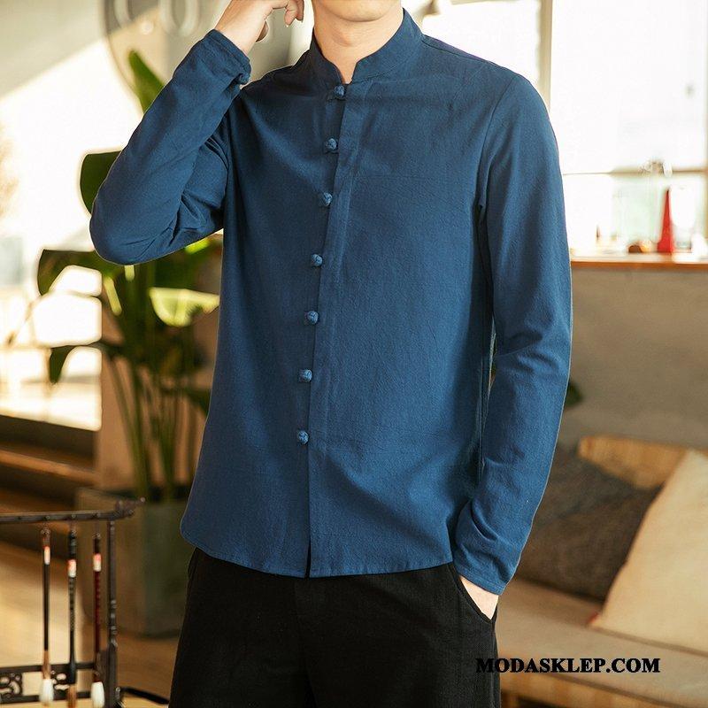 Męskie Koszula Kup Duży Rozmiar Męska Topy Długi Rękaw Chiński Styl Niebieski