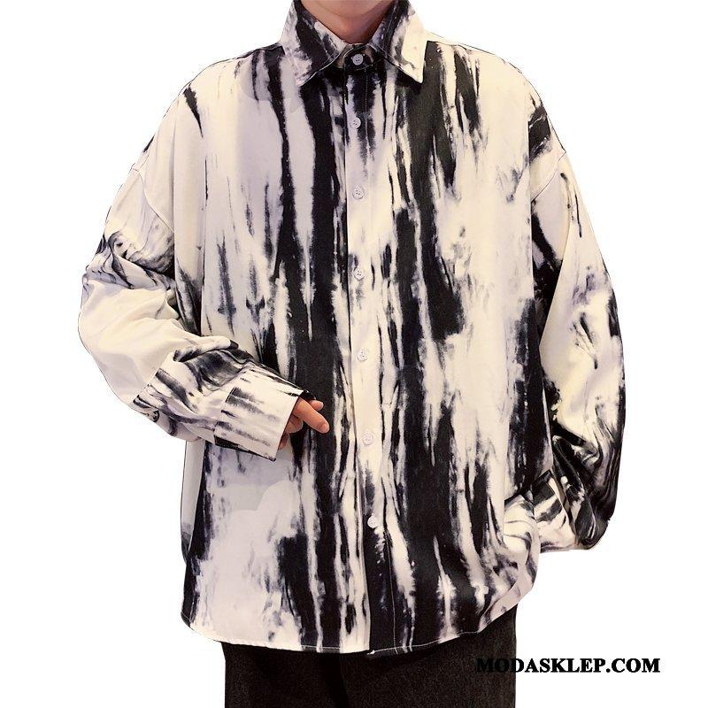 Męskie Koszula Online Wiosna Długi Rękaw Atrament Duży Rozmiar Modna Marka Khaki