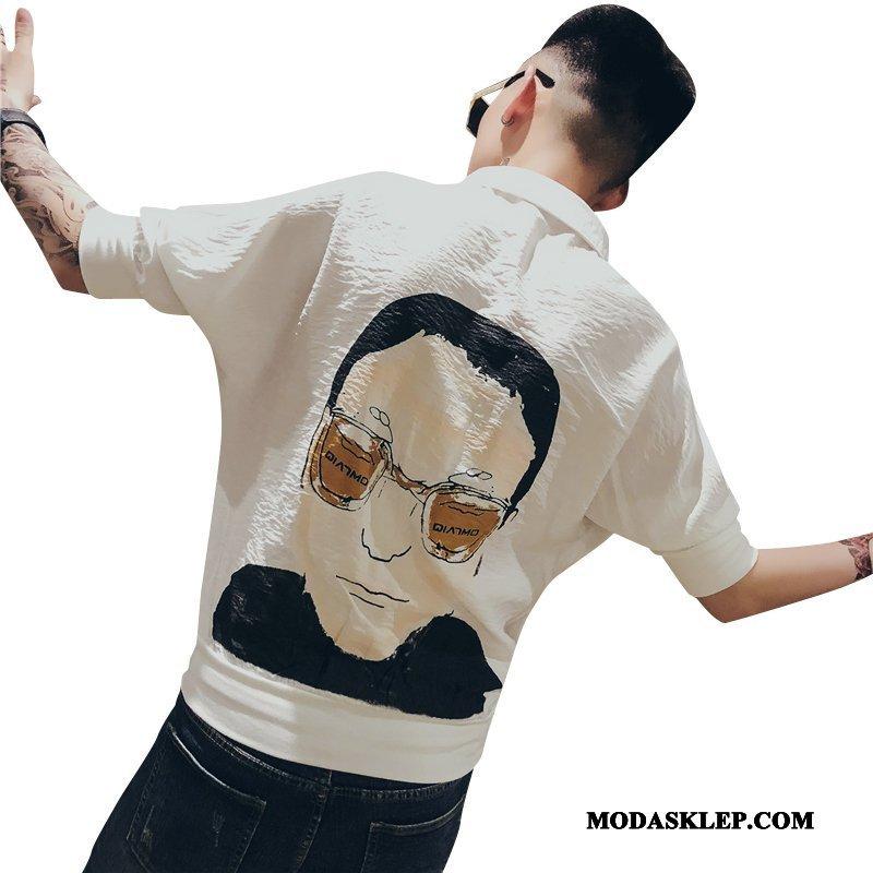 Męskie Koszula Sklep Męska Rękawy Modna Marka Projekt Lato Biały