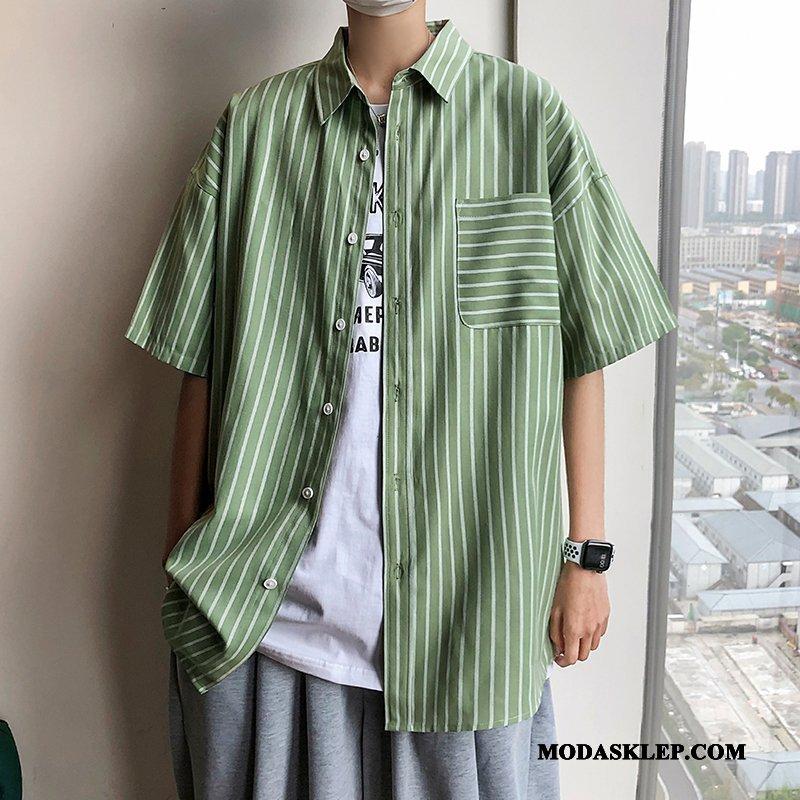 Męskie Koszula Sklep Vintage Płaszcz W Paski Lato Rękawy Zielony
