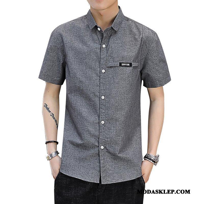 Męskie Koszula Sprzedam Tendencja Młodzież Męska Casual Osobowość Szary