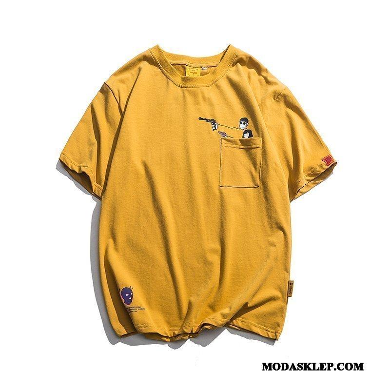 Męskie Koszulki Dyskont Tendencja Drukowana Kreatywne Kreskówka Krótki Rękaw Żółty