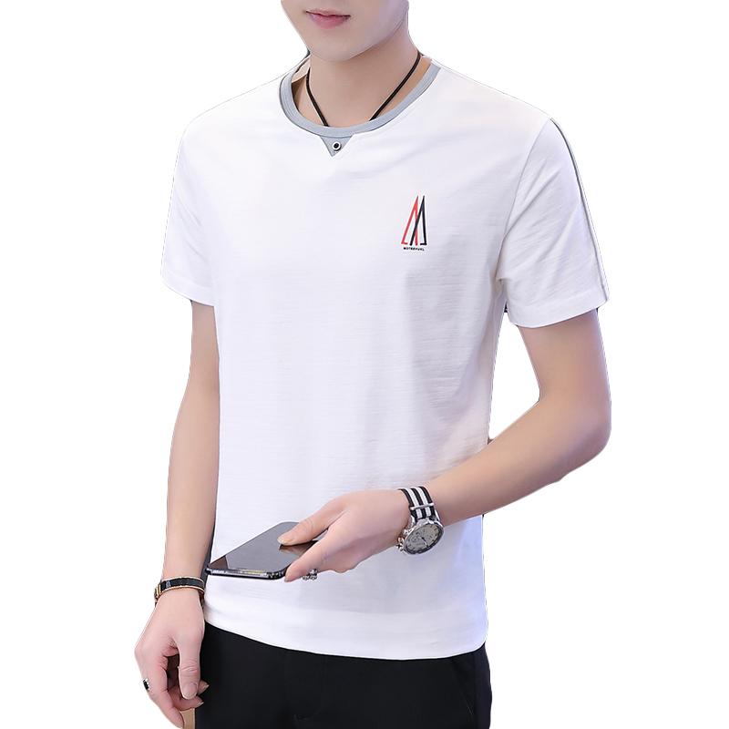 Męskie Koszulki Dyskont Topy Krótki Rękaw 2019 Męska Nowy Mieszane Kolory Biały