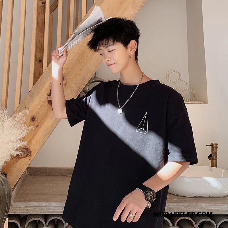 Męskie Koszulki Oferta Tendencja Chiński Styl Hip-hop Bawełna T-shirt Czarny