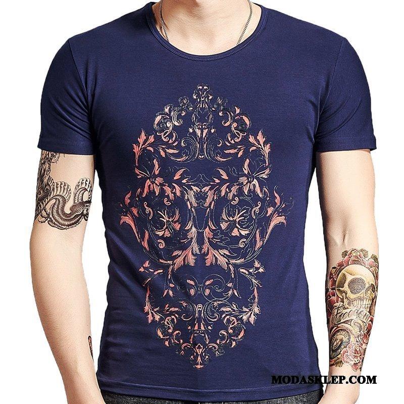 Męskie Koszulki Online Krótki Rękaw Slim Fit Drukowana Męska Proste Ciemno Niebieski