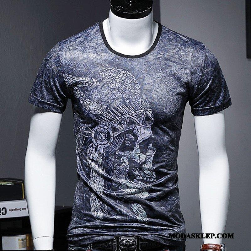 Męskie Koszulki Online T-shirt Legginsy Krótki Rękaw Mały Vintage Niebieski