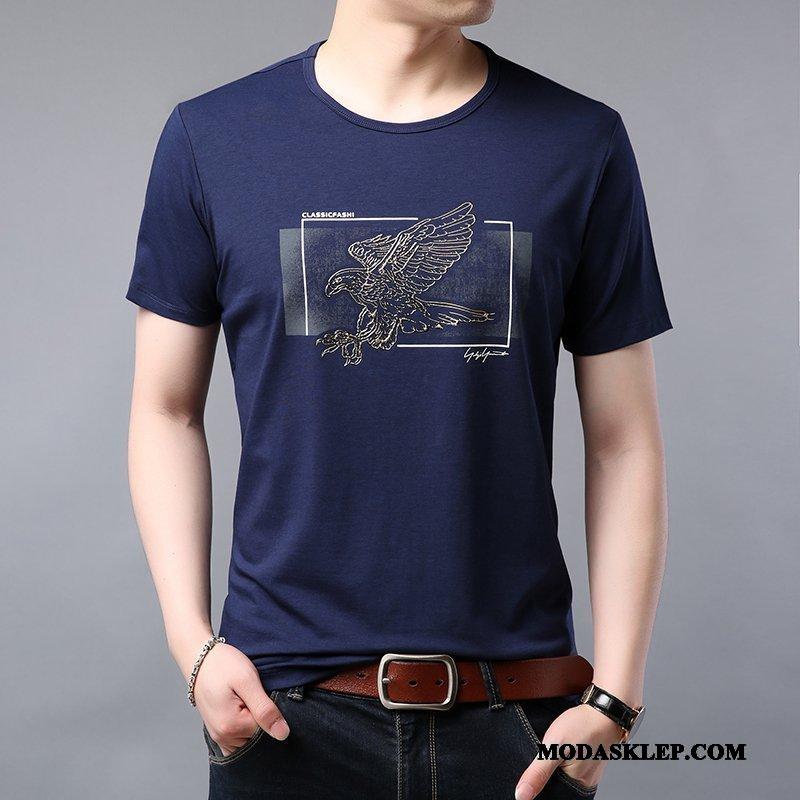 Męskie Koszulki Sklep Męska Krótki Rękaw Drukowana Modna Marka Tendencja Niebieski