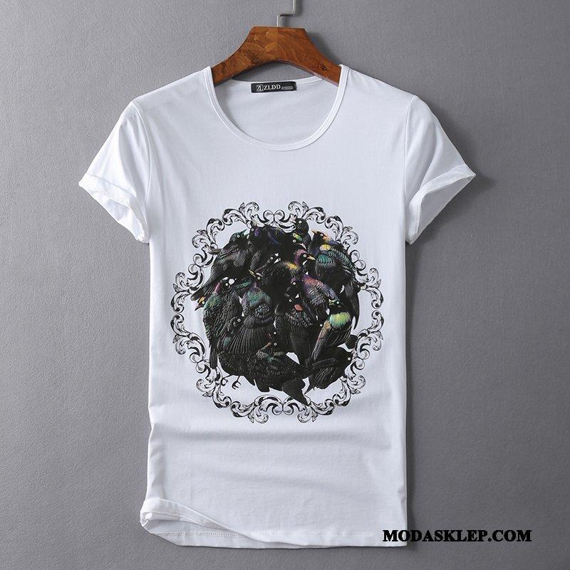 Męskie Koszulki Sklep Męska Oryginalny Casual Slim Fit Ptak Biały