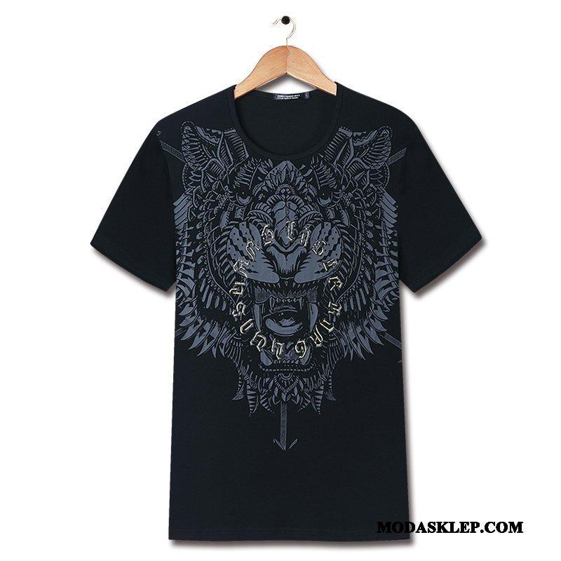 Męskie Koszulki Sklep Nowy Topy Krótki Rękaw Tygrys Drukowana Czarny