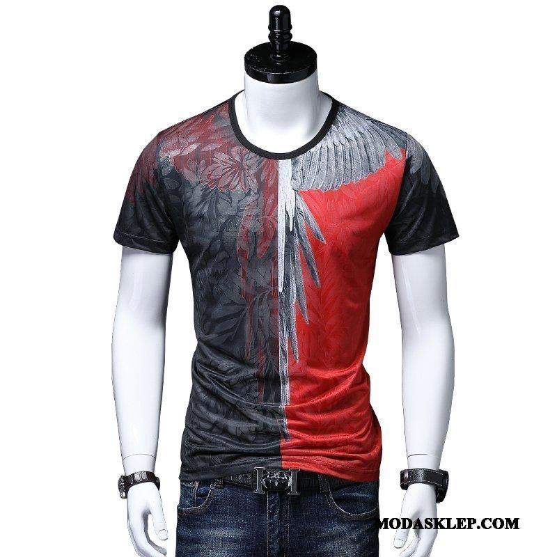 Męskie Koszulki Sklep Skrzydła Lato Krótki Rękaw T-shirt Drukowana Czerwony