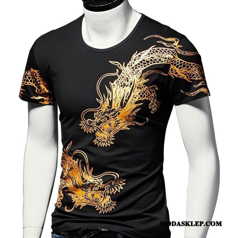Męskie Koszulki Sprzedam Lato Drukowana Okrągły Dekolt Smok Tendencja Czarny