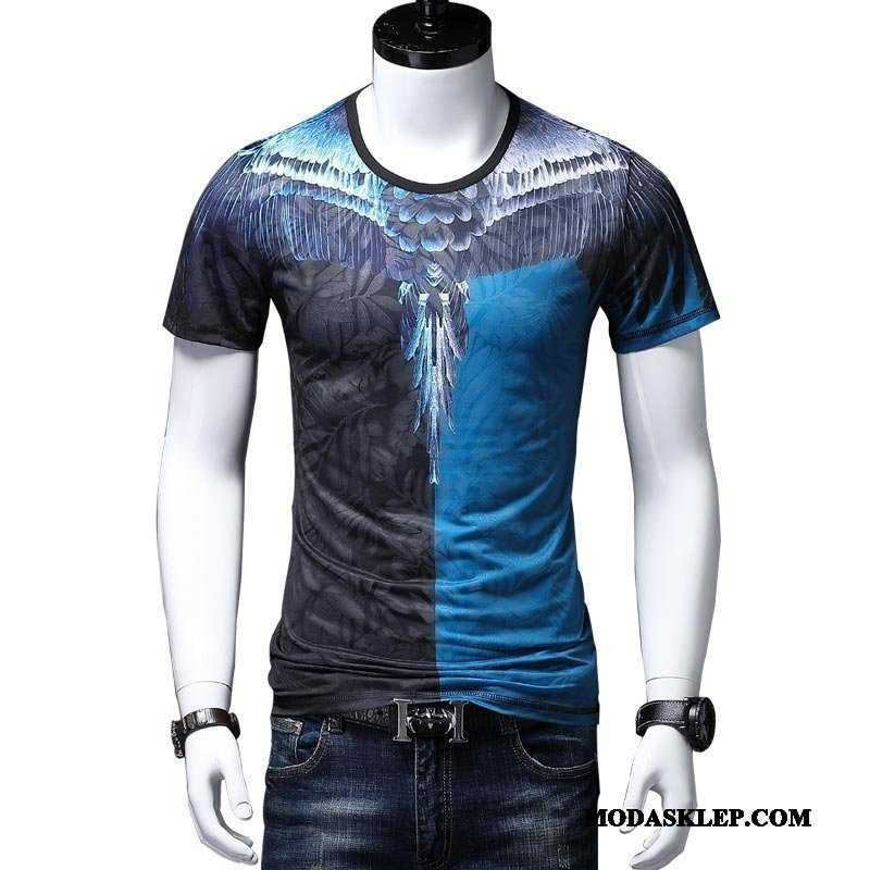 Męskie Koszulki Sprzedam Nowy Okrągły Dekolt Skrzydła Modna Marka Krótki Rękaw Niebieski