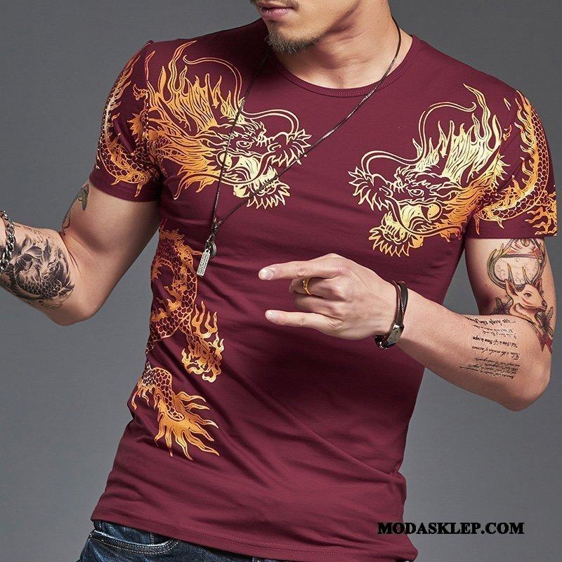 Męskie Koszulki Sprzedam Slim Fit Okrągły Dekolt Tendencja Lato 2019 Czerwony