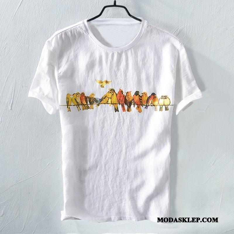 Męskie Koszulki Tanie Lato Osobowość Bawełniane Ptak Okrągły Dekolt Biały