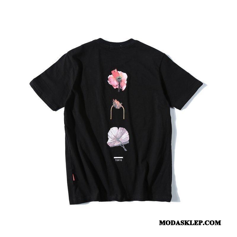 Męskie Koszulki Tanie Szerokie Kwiaty Proste Męska Tendencja Czarny