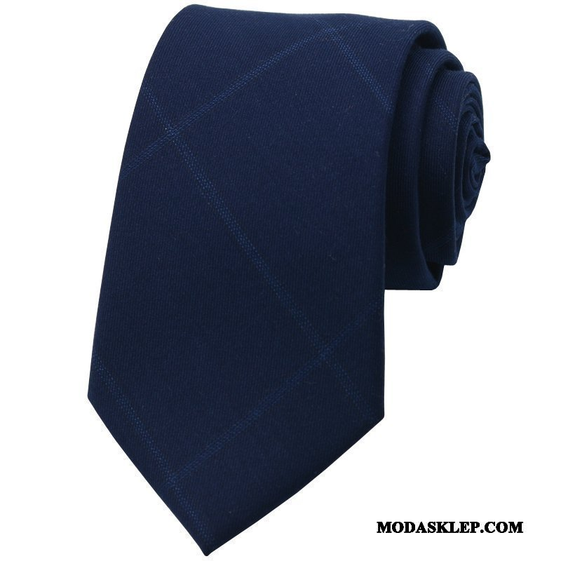 Męskie Krawat Dyskont Męska Brytyjski Pudełko Na Prezenty Krata Moda Niebieski Szary