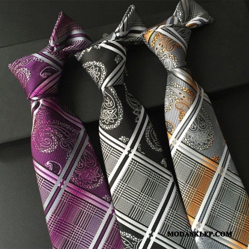 Męskie Krawat Online Klasyczny Sukienka Krata Casual Męska Szary