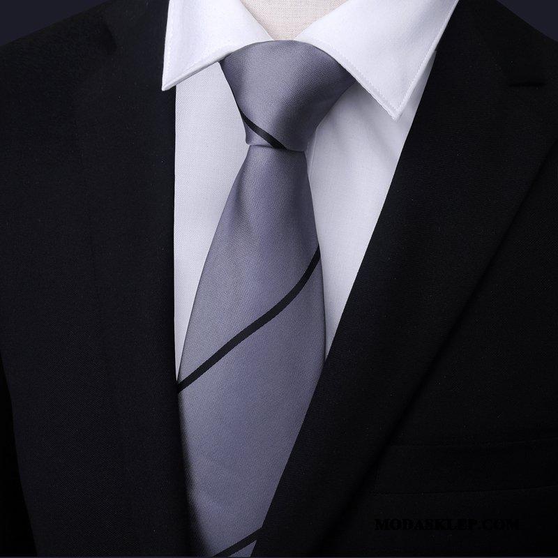 Męskie Krawat Sklep Męska W Paski Pan Młody Ślubna Z Pracy Niebieski Szary