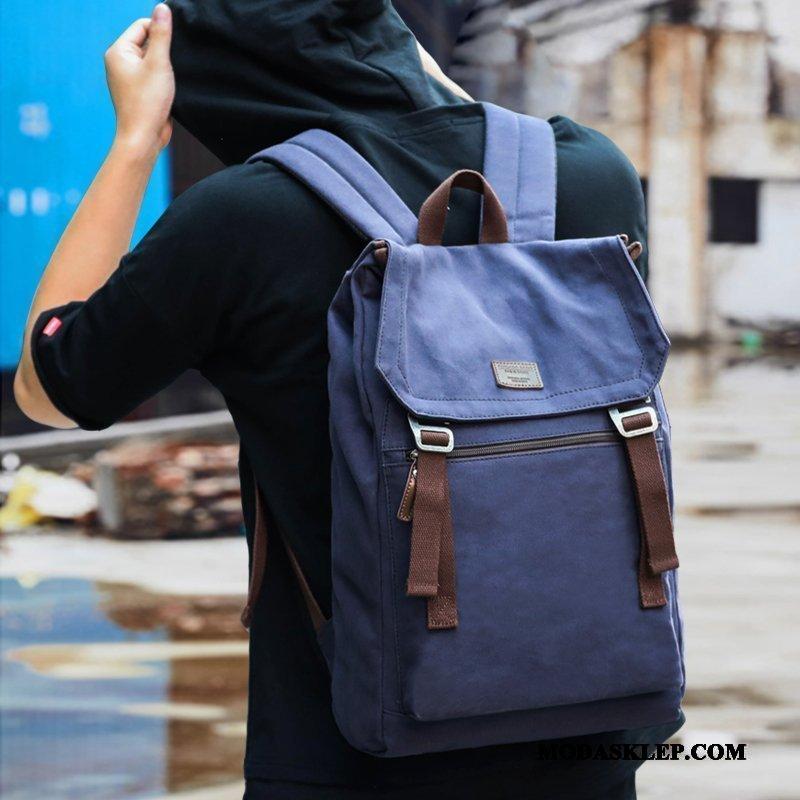 Męskie Plecak Podróżny Kup Casual Średni Trendy Płótno Tornister Szkolny Niebieski