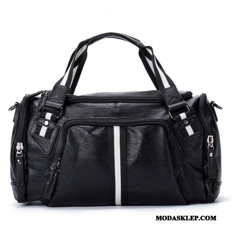 Męskie Plecak Podróżny Tanie Więcej Kieszeni Moda Outdoor Torba Messenger Skóra Czarny