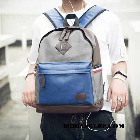 Męskie Plecak Sklep Męska Podróż Tornister Szkolny Trendy Młodzież Niebieski