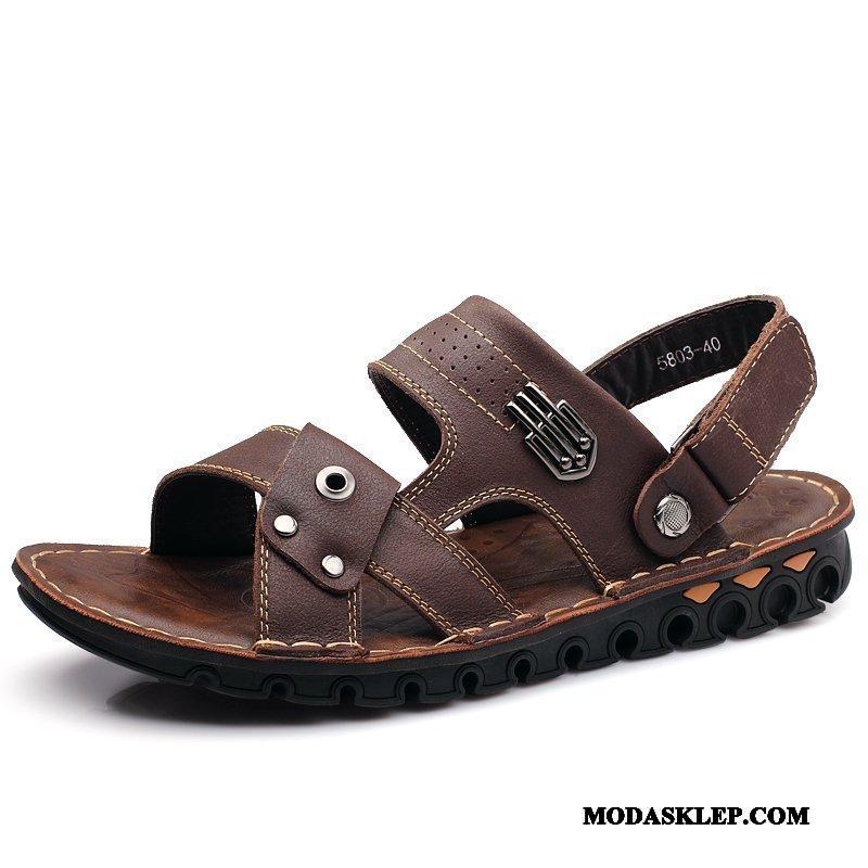 Męskie Sandały Dyskont Prawdziwa Skóra Casual Duży Rozmiar Z Grubą Podeszwą Lato Brązowy