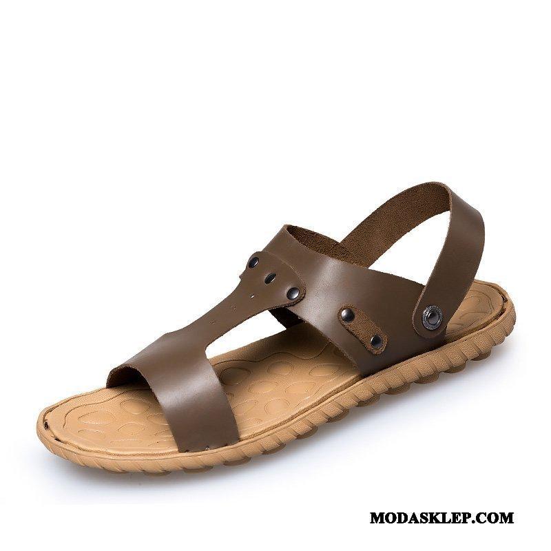 Męskie Sandały Kup Prawdziwa Skóra Męska Buty Plażowe Oddychające Brązowy