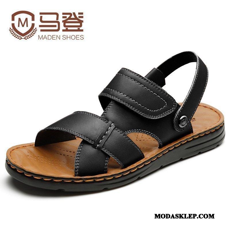 Męskie Sandały Kup Prawdziwa Skóra Męska Tendencja Plażowe 2019 Czarny