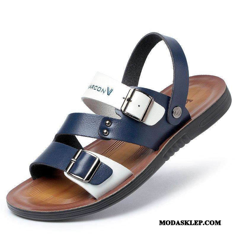 Męskie Sandały Na Sprzedaż Kapcie Miękka Podeszwa Osobowość Tendencja Lato Niebieski