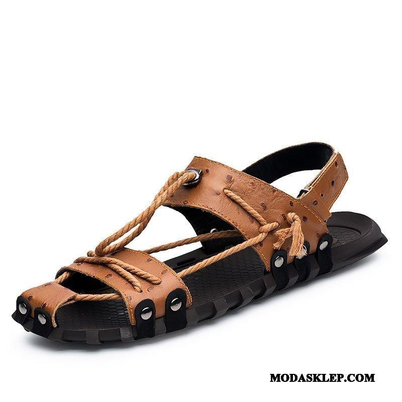Męskie Sandały Na Sprzedaż Męska Plażowe Lato Duży Casual Brązowy