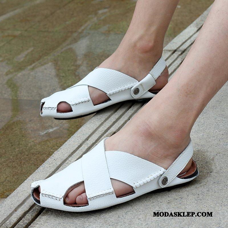 Męskie Sandały Oferta Plażowe Rzym Casual Kapcie Lato Biały