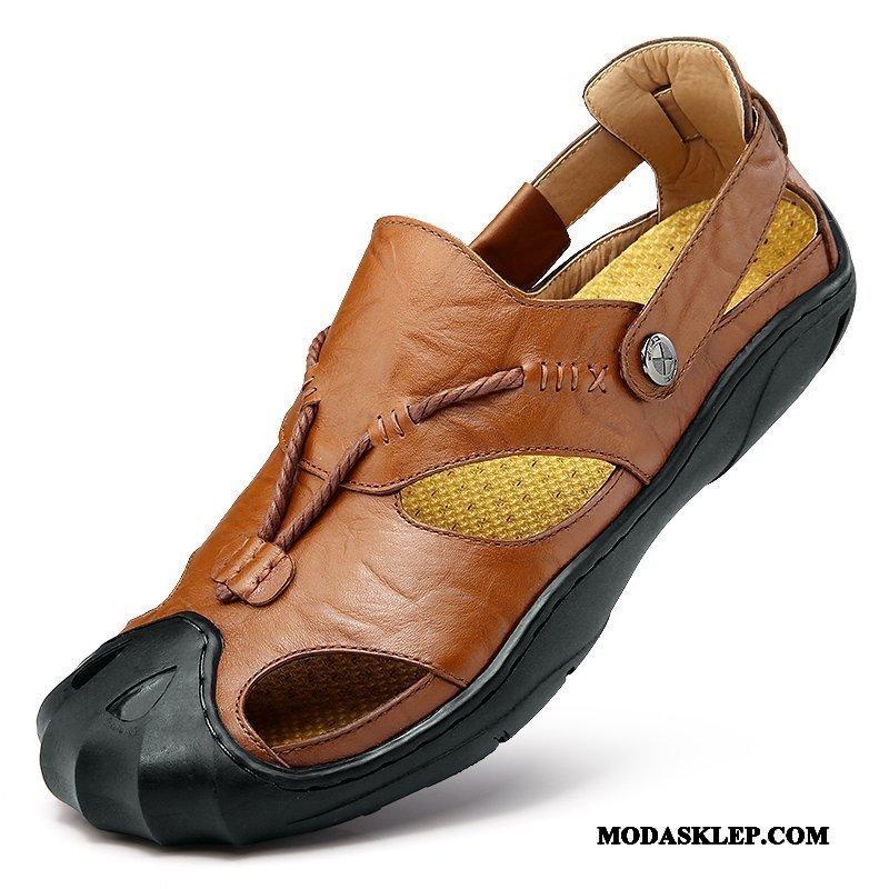 Męskie Sandały Online Prawdziwa Skóra Koronka Buty Outdoor Skóra Bydlęca Brązowy
