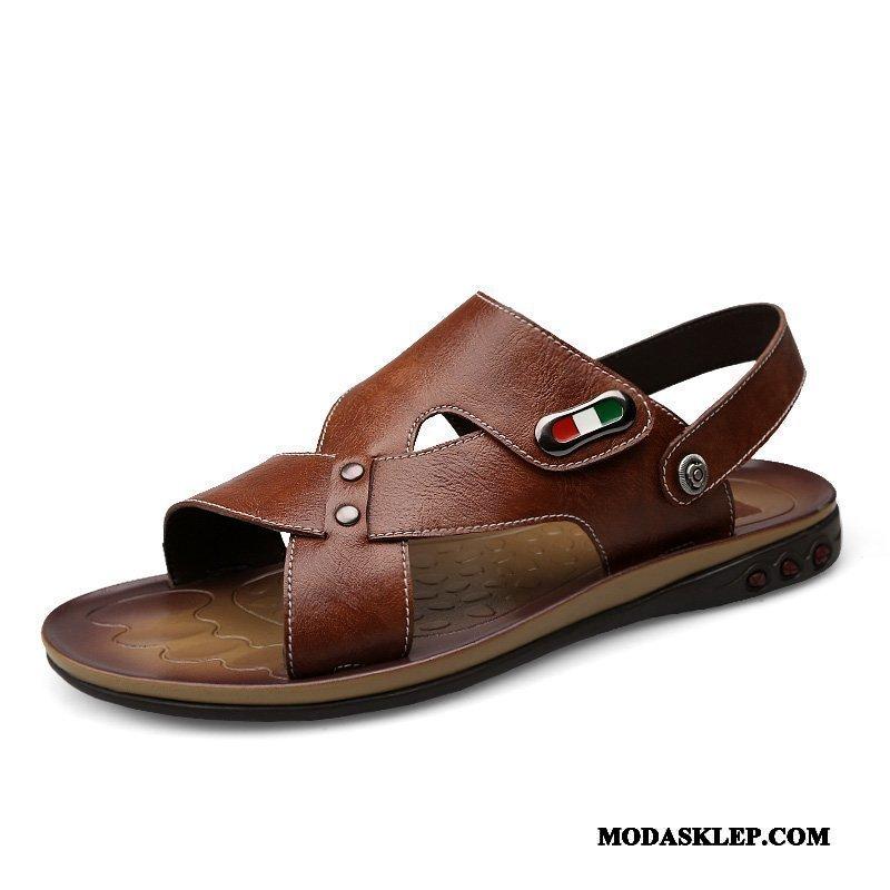 Męskie Sandały Sklep Casual Buty Plażowe Moda Duży Brązowy