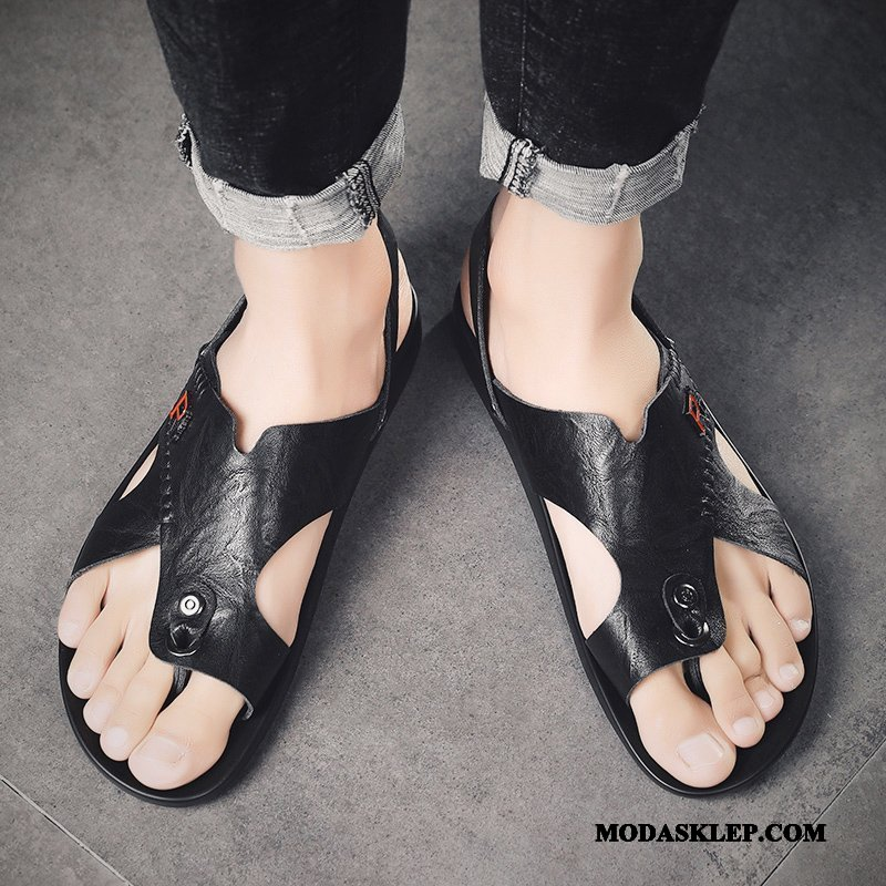 Męskie Sandały Sklep Lato Skóra Plażowe Buty Japonki Czarny