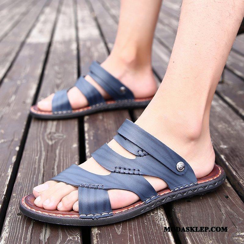 Męskie Sandały Sklep Moda Kapcie Casual Antypoślizgowe Lato Niebieski