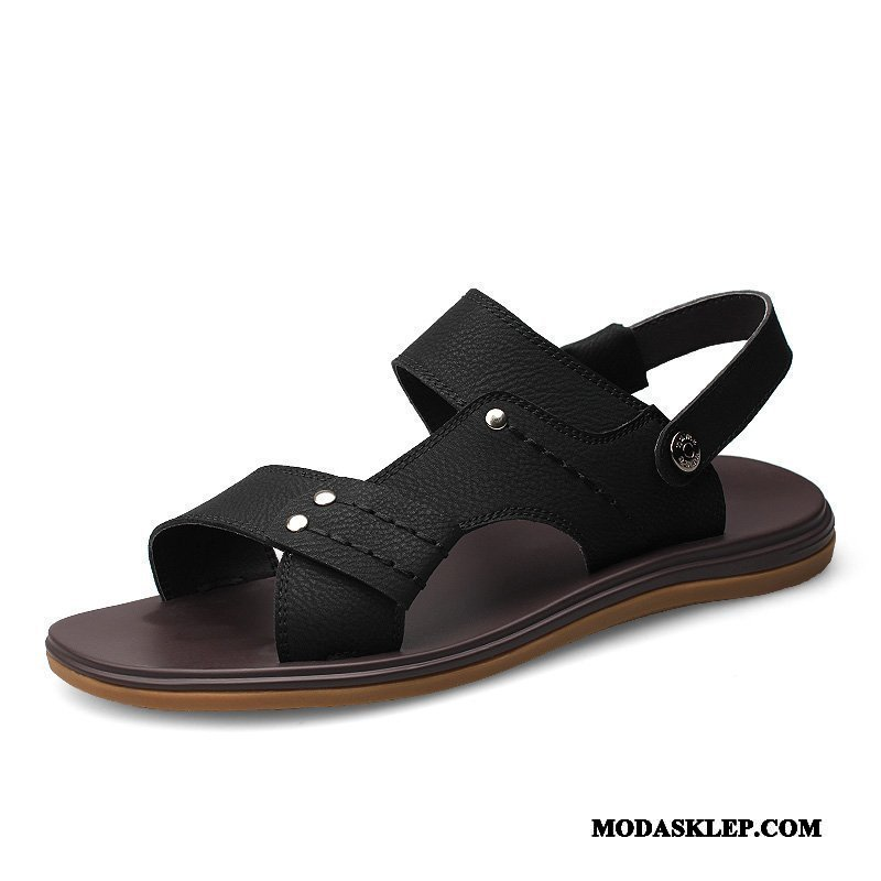 Męskie Sandały Sklep Open Toe Antypoślizgowe Buty Lato Duży Czarny