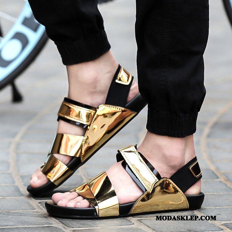 Męskie Sandały Sprzedam Cekiny Moda Odzież Wierzchnia Tendencja Osobowość Złoty