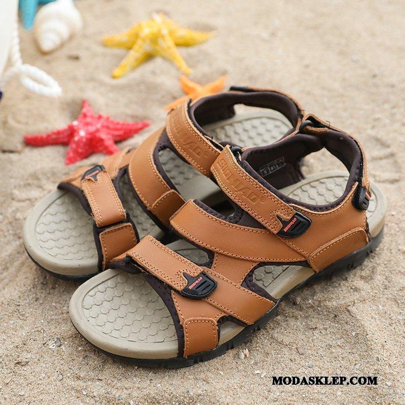 Męskie Sandały Sprzedam Lato Rzepy Antypoślizgowe Plażowe 2019 Brązowy