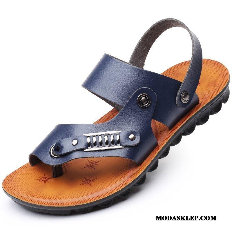 Męskie Sandały Sprzedam Slip On 2019 Prawdziwa Skóra Męska Duży Rozmiar Niebieski