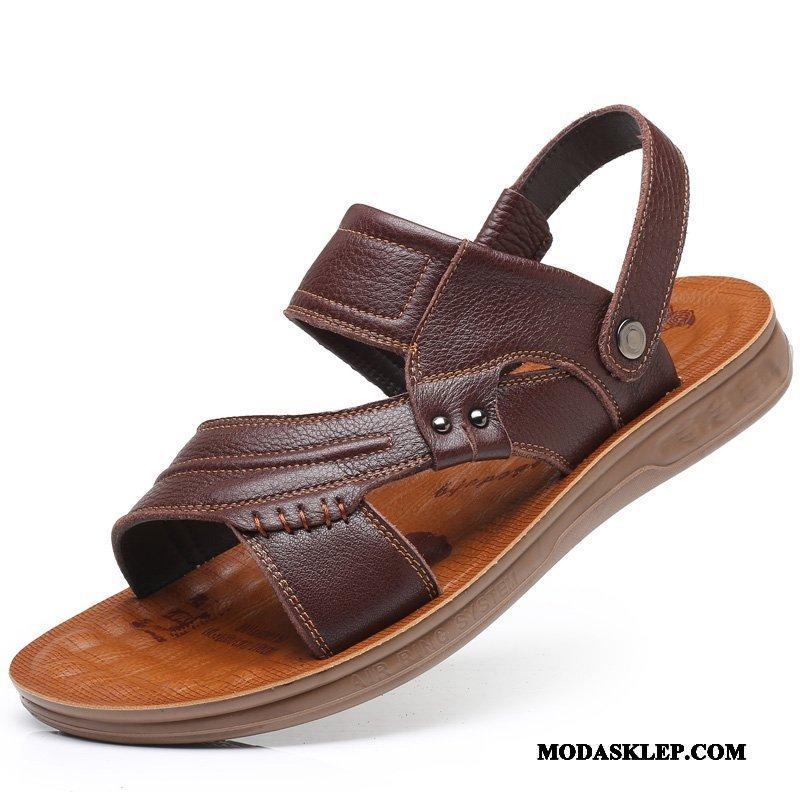 Męskie Sandały Tanie Buty Plażowe Antypoślizgowe Oddychające Z Grubą Podeszwą Brązowy