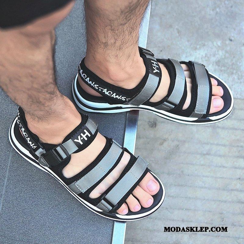 Męskie Sandały Tanie Plażowe Duży Antypoślizgowe Z Grubą Podeszwą Duży Rozmiar Szary