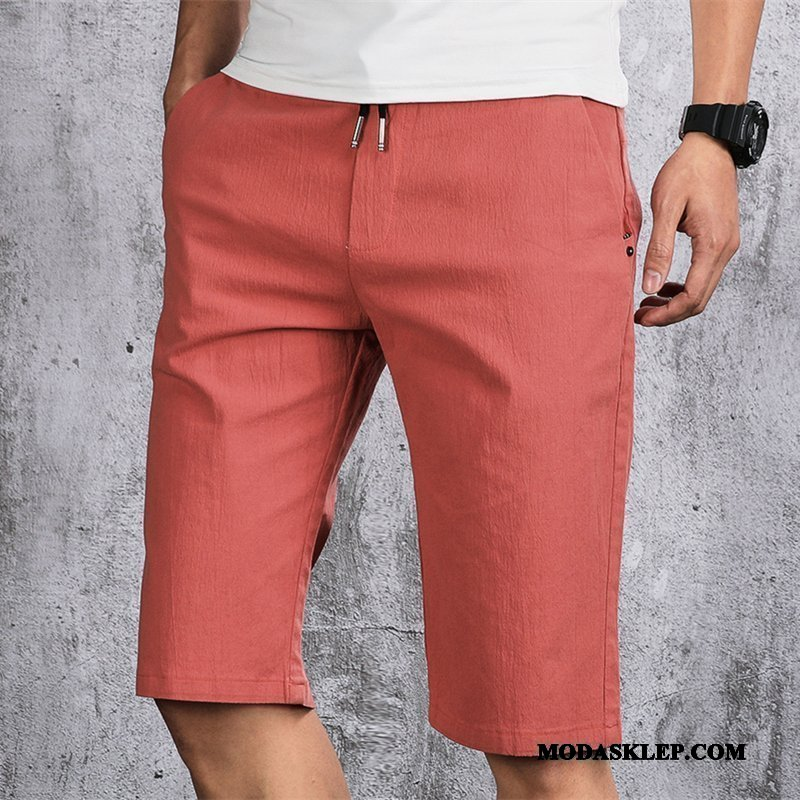 Męskie Spodenki Online Casual Slim Fit Tendencja Spodnie Bawełniane Czerwony