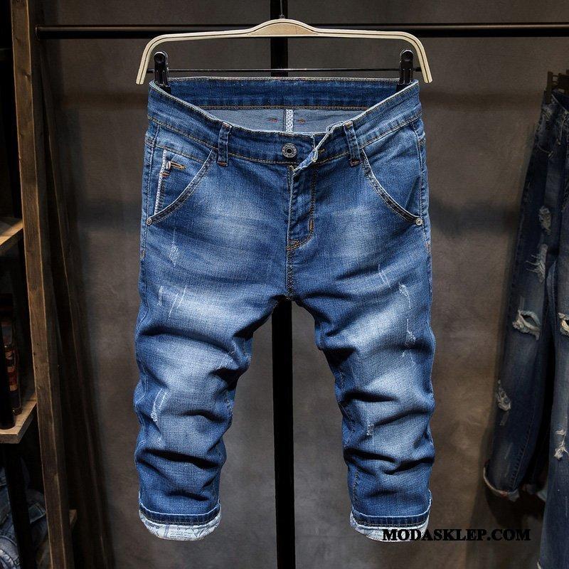 Męskie Spodenki Sklep Slim Fit Dżinsy Casualowe Spodnie Lato Szorty Niebieski