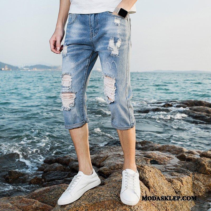 Męskie Spodenki Sprzedam Tendencja Z Dziurami Spodnie Capri Lato Szorty Niebieski