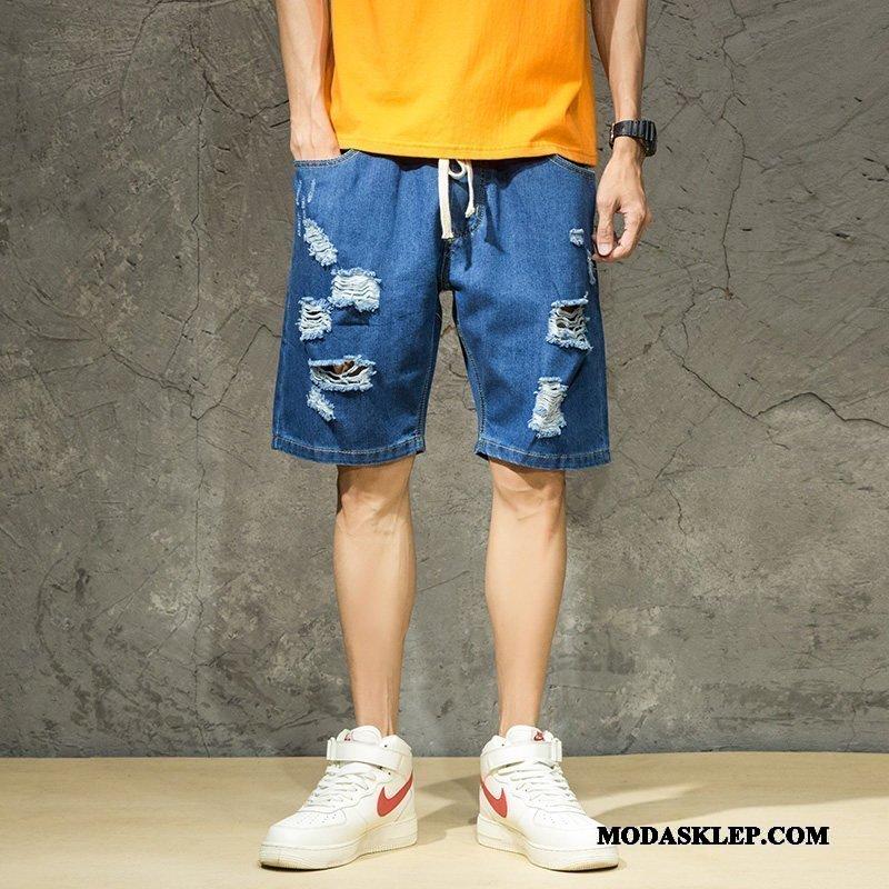 Męskie Spodenki Tanie Spodnie Z Dziurami Męska Super Tendencja Ciemno Niebieski