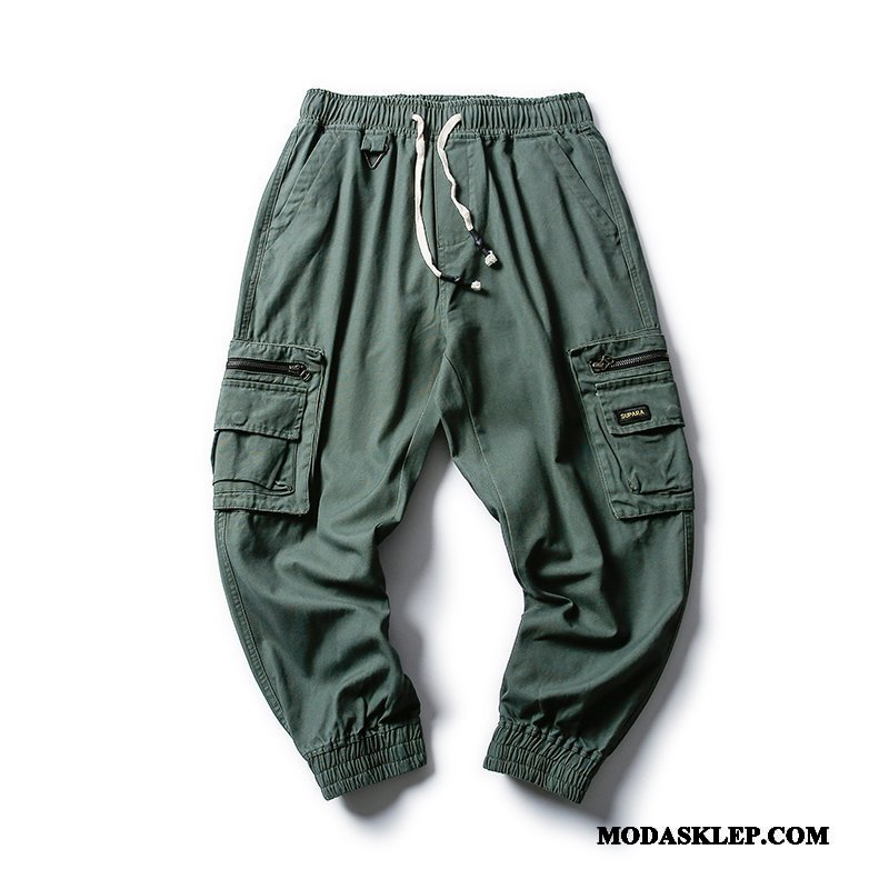 Męskie Spodnie Cargo Sklep Tendencja Szerokie Casual Męska Ołówkowe Spodnie Zielony