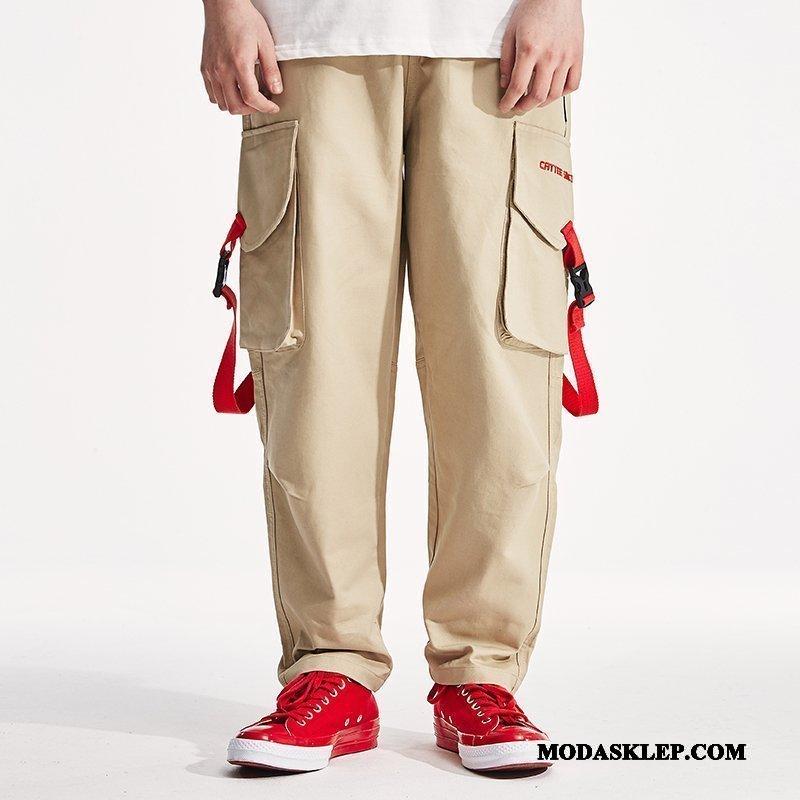 Męskie Spodnie Cargo Sprzedam Proste Tendencja Z Haftem Modna Marka Vintage Khaki