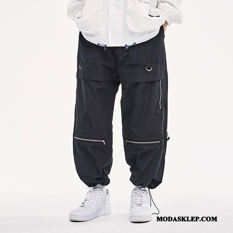 Męskie Spodnie Cargo Sprzedam Szerokie Slim Fit Dekoracja Casualowe Spodnie Tendencja Czysta Czarny